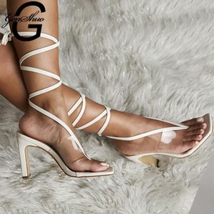 GENSHUO Sommer PVC Transparent Knöchel-Kreuz-Bügel-Absatz-Schuhe Frauen Sandalen Peep Toe Sexy Party Damen Schuhe Frau Sandalen