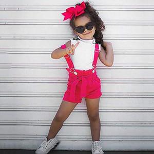 Criança Baby Girl Verão Branca Manga Rosa Pant Kid Clothings bonito Crianças Set