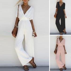 Frauen-Damen mit V-Ausschnitt, kurzer Overall Clubwear Bodycon Body kurzen Hülsen-Overall-Long Black Strampler