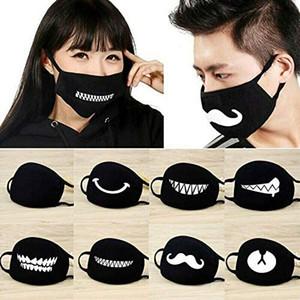 Máscara de polvo de la cubierta de la cara divertida linda algodón lavable máscara máscaras de protección Resuable para el festival del partido de Cosplay Unisex Niños Adultos Negro