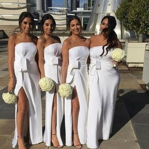 2020 Modern White Bridesmaid Dresses Strapless A Line Split Wedding Guest Evening Gowns Pleats Maid of Honor Dress Cheap