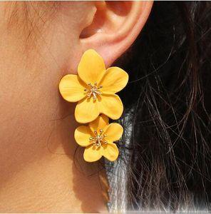 Doppel-Blumen-Ohrringe Trendy rosa Blumen Bolzen Ohrringe für Frauen Hochzeit Schmuck Boho Metall Ohrring Weiblich