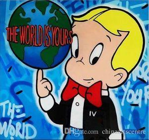 vA. Alec Monopoly Banksy O mundo é seu Pintura Qualidade pintado à mão Abstract Graffiti Art Oil High On Canvas Wall Art Home Office D 129