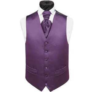 Handsome Purple Satin Wedding Vests Custom Made Groom Vest Slim Fit Mens Suit Vest Waistcoat Dress With Two Pockets(Vest+Tie)