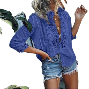 여름 섹시한 여성 레이스 탑스와 블라우스 우아한 숙녀 할로우 반소매 V 넥 셔츠 Boho Beach Blouse