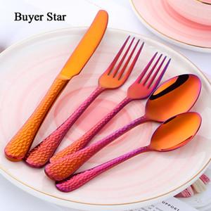 Acheteur Star 5 Piece rêve couleur or noir Dîner Flatware Art de la table Argenterie dîner fourchette cuillère couteau Couverts Drop Shipping T200227