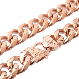 wholesale Hop Rose Gold Filled Heavy Stainless Steel Curb Cuban Link Rombo Chain Necklaces Bracelet Set for Men Jewelry