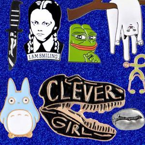 Emaille-Brosche-Stifte Kaffeetasse Totoro Frosch Katze Dinosaurier-Schädel Stethoskop Einhorn Smiling Brosche Revers-Stifte Badge Will und Sandy DROP SHIP