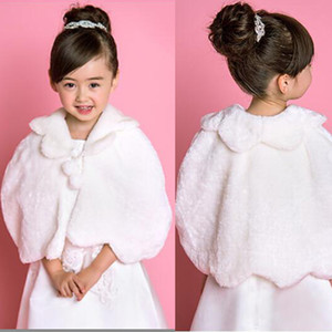 Flower Girl's Faux Fur Evening Party Wedding Shawl DH7321 Kids Wrap faux fur Little Girl Party Shawl