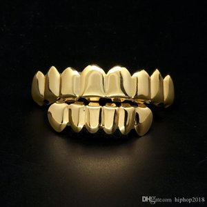 Mens Gold Grillz Teeth Grillz Set 2018 New Fashion Hip Hop Jewelry High Quality Eight 8 Top Tooth & Six 6 Bottom Teeth Grills