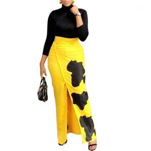 Mujeres Faldas sólido amarillo claro del color de cintura alta Sexy Ladies flaco Faldas Mujer Ropa de Split Print Designer