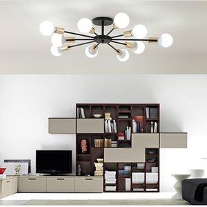 Nordic ceiling lamps creative personality lighting simple modern atmospheric bedroom living room golden black iron ceiling lamp