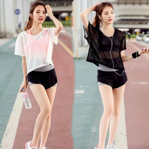 3 in 1 Summer 2017 Women's Sexy Yoga Set Mesh Translucent Loose Tops Tees & Quick Dry Shorts & Shockproof Sport Bras Brassiere #556499
