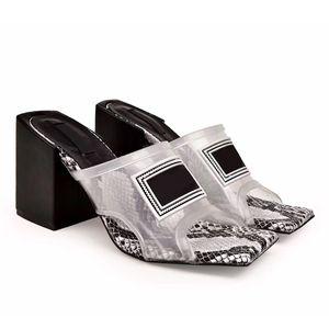 Прозрачные женские босоножки на высоком каблуке Мулы Горки ПВХ Дизайнерские тапочки из натуральной кожи 6см / 9см женские дизайнерские туфли на высоком каблуке Размер 35-42
