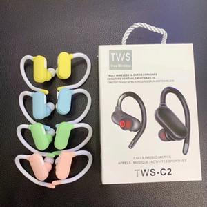 TWS-C2 Fones de Ouvido Sem Fio Bluetooth 5.0 fones de ouvido Mini fone de ouvido estéreo de esportes com Microfone TWS Fones De Ouvido Sem Fio Verdadeiro Para Smartphone