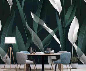 CJSIR personalizzate Carta da parati dipinte a mano Sfondo Nordic minimalista Tropical Leaves TV della casa della parete della decorazione Murales 3D Wallpaper