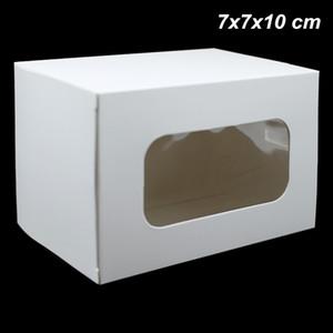 20 Piezas 7x7x10 cm Accesorios de joyería de papel Kraft blanco Cajas de embalaje Cajas de jabón hechas a mano Tablero de la ventana Ventana Fiesta de papel Craft Party