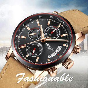 NIBOSI relojes de los hombres de primeras marcas de lujo del cuero masculino impermeable del cuarzo del deporte del cronógrafo Militar reloj Reloj Masculino Relógio