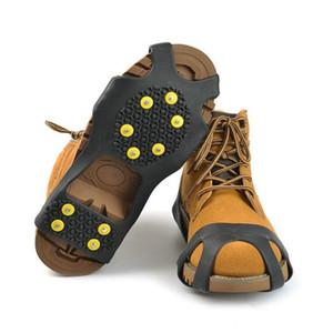 10 스틸 스터드 얼음 클리트 미끄럼 방지 눈 얼음 등반 신발 스파이크 그립 스테이플 클리트 Overshoes가이 그리퍼 LXL766-1 등반