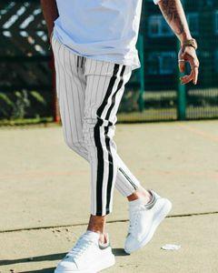 Hirigin Fashion Men England Style Striped Pants Male New Long Pencil Joggers Pants Casual Trousers Drawstring Side Stripe Slacks
