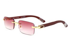 mens gafas de sol de madera naturales de la manera de los deportes sin montura gafas de marco metálico de búfalo cuerno gafas de sol negras lentes de color rosa oculos la plata del oro