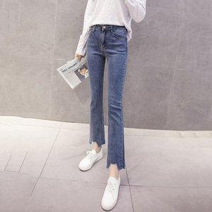 Pantalons Denim Femme 2020 coréen d'été Vêtements Automne taille haute Nine Points dames Pantalon droit en coton bleu Jeans Femme A1011