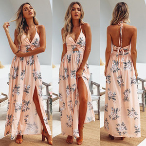 Cadeia Womens Verão Boho Maxi longo Evening Party Dress Praia Vestidos Vestido de Verão Floral Halter Vestido de Verão Hot Sale