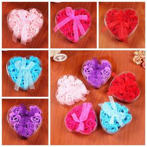 Душистые розы лепесток букет День Святого Валентина подарок в форме сердца подарочная коробка ванна мыло для тела свадьба пользу 9ocs / лот 50bag T1I1785