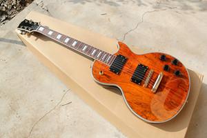Guitare électrique de touche en palissandre personnalisée avec du matériel doré, pont fixe, incrustation de perle blanche, peut être adaptée aux besoins du client