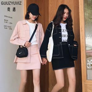 GUUZYUVIZ mujeres dril de algodón rosa palo Negro ocasional de la capa elegante de los pantalones vaqueros chaqueta y falda de talle alto ajustado de las mujeres de 2 pedazos 2018 de invierno