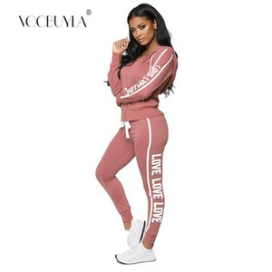 Voobuyla Fitness Women Running Set Autumn Letter Print Hooded Jacket+Pants Sports Women Suit Athleisure Set 2 Piece Tractsuit XL