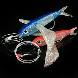 línea de tira de pescado avión que vuela peces 17cm pesca en alta mar señuelo suave de grandes alas al por mayor de pescado