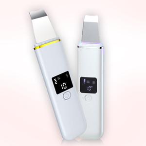 precio barato ultrasónico Micro Skin Scrubber eléctrico facial de la piel muerta de la cara de limpieza Negro removedor de la cabeza de la pala de la piel Aparato máquina de la belleza