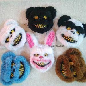 Cadılar Bayramı Korkunç Hayvan Korku Kanlı Ürpertici Hayvan Kafa Maskesi Spooky Peluş Tavşan Paskalya Kostüm Kanlı Pembe Cospaly Maskesi