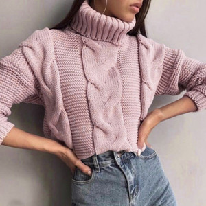 Long Sleeve Tops Autumn Winter Sweater for Women White Knitted SweatersFashion 2019 Turtleneck Sweater Female Pullover Jumper