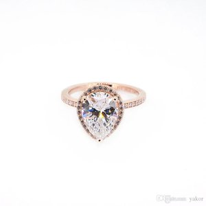 NEW Tear drop CZ Diamond 925 Silver Wedding RING Original Box for Pandora 18K Rose Gold Water drop Rings Set For Women