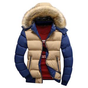 شتاء دثار دافئ إلى أسفل دثار 9 اللون أزياء العلامة التجارية مع هود الفراء قبعة الرجال أبلى معطف عارضة الرجال سميكة