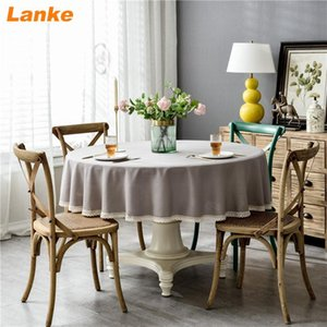 Lanke Linen Round table cloth Waterproof Oilproof With Tassel , Solid Color Dining Tablecloth for Home Christmas Birthday Party Y200421
