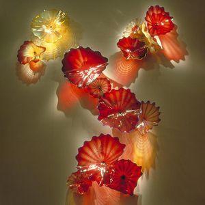 Lámparas sopladas Placa de flores para decoración de pared Red Amber Color Color Murano Glass Placas Colgantes Art Hotel Luces antiguos