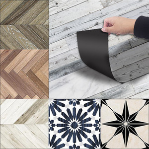 3D de suelo impermeable Pegatinas Azulejos En engomadas de la pared de madera auto-adhesivo de PVC fondo de pantalla para Baño Sala Decoración 20 * 300 T200111