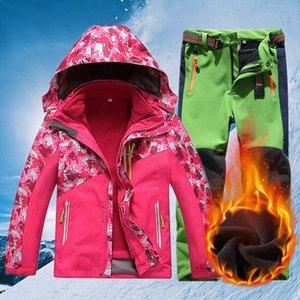Children Winter Ski Suit Windproof Waterproof Kids Warm Fleece Skiing Jacket And Pants Set Boys Girls Snowboard Snow Coat CYF745