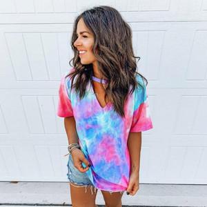 Verano Nueva Tie-dye Impreso V-cuello de manga corta camiseta de las tapas de la camisa de diseño de las mujeres ocasionales flojas Tee Shirts Grandes_Tailles 3XL