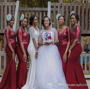 Платья подружки невестых африканских русалок 2017 новый 1/2 рукав блестки эластичные пятна v шеи формальные платья свадебное платье на заказ