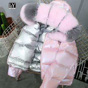 Ly varey lin verdadero abrigo de piel de piel natural chaqueta de invierno mujeres 90% pato blanco abajo de doble cara con capucha impermeable parkas