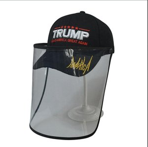 Trump Cap Mask Make America Great Again 3D Embroidery Baseball Hat Removable Outdoor Transparent Protective Hat Masks Face shield LJJA4043-1