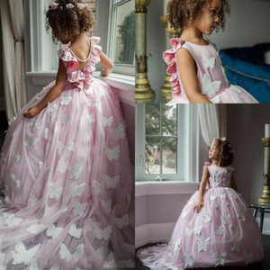 Cute Pink Flower Girl Dresses With Butterfly Lace V Back Una linea Tulle Long Girls Pageant Abiti bambini Formale Wear Birthday Party Dress