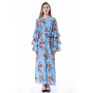 Women Summer Flora Printed A-Line Dresses Bell Long Sleeve Ankle-Length Ribbon Female Dress Crew Neck M-5XL