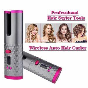 USB تنعيم الشعر الشحن اللاسلكي بكرو التلقائي بالكامل الشباك عصا موجة كبيرة دوران تؤذي الشعر التلقائي بكرة مجانا