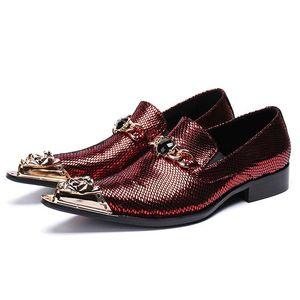 Металл Tipped Остроконечных Toe Люди Формальные платья мужчина Paty пром обувь Люкс Мокасины лакированная кожа скольжение на Мужской Свадьбу партии обуви