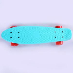 PP plastic youth four-wheeled skateboard beginners brush street travel single rocker children small fish plate customizable color